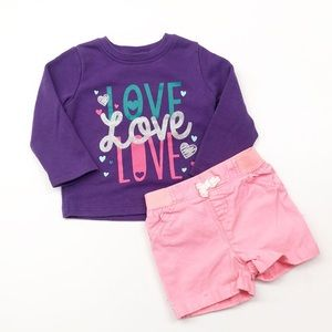 Jumping Beans Love sweater & shorts baby outfit